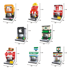 Hot city mini street view building block Hamburger Fried chicken sport cola Coffee shop 24 hours apple Convenience Store toys(China)