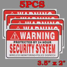 5Pcs/Set Warning Protected by 24 Hour Security System Stickers Saftey Alarm Signs Decal Warning Mark Business 9*5cm Car Styling