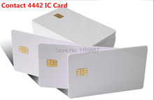 50pcs/lot  ISO7816 PVC  Smart Card  IC Contact SLE 4442 Chip White PVC Blank Smart Card