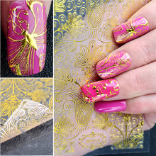 2017 Hot gold floral 3d nail art decorations metal sticker nail foi french manicure water decals nail tape wrap women beauty