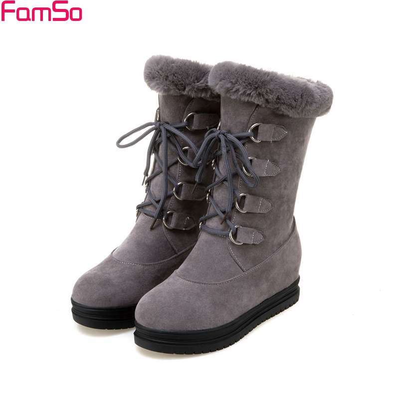 FAMSO 2017 Shoes  Big Size Black green Lace-up Fur Boots Wedges Platforms Russia Winter Outwear Keep Warm Snow Boots For Women<br>