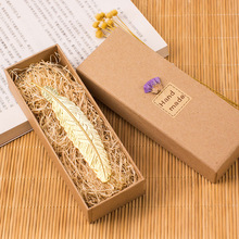 Gift box Creative fashion Metal Golden silver Feather Bookmark collection Book Mark free shipping(China)