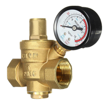 "Reliable Brass Water Pressure Regulator with Gauge Flow DN20 3/4"" Connector Adjustable Mayitr Pressure Reducing Valves(China)"
