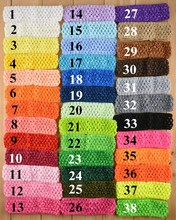 50pcs/lot 38 Color U Pick 1.5 Inch Elastic Crochet Headbands Girls Waffle Headwear DIY Hair Accessories D02