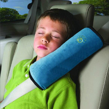 Auto Car Soft Headrest Cushion Support Pillow Safety Seat Belt Blue Harness Kids Children Shoulder Padding Vehicle Seatbelt Pad(China)