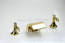 Gold Combined  three pcs set  Dual Handle Brass Finished Chrome Basin Tap Mixer Deck  Bathroom Bathtub Faucet  Set  AD-1136