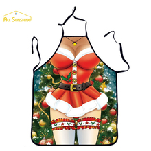 2017 New Christmas Gift Sexy Beauty Stockings And Santa Claus funny Cute Apron For Adults Women Kitchen Cooking Tablier Cartoon(China)
