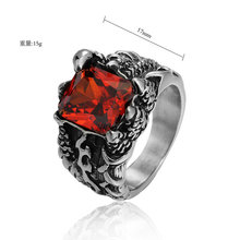 AMGJek 17mm Vintage Dragon Claw Setting Red Stone Ring Men Titanium Steel Unique Design Punk Rings For Men Party Jewelry F079