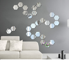 12pcs DIY Modern Creative 3D Silver Gold Mirror Geometric Hexagon Acrylic Wall Bedroom Living Wedding Room Decoration Stickers
