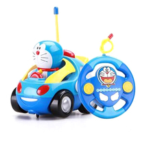 Baby Boys Girl Doraemon Electric Toys Car Remote Control Car Kids RC Car Cute Cat Cartoon Musical Light Child Race Car Toy(China)