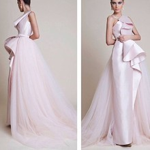 2016 New Trendy  Evening Dress One Shoulder Ruffles Party Gowns Middle East Arabic Dress Satin With Tulle Train ATY1653