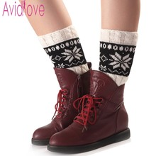 Avidlove Women Fashion Short Leg Warmers Knit Winter Boot Socks Warm Boot Socks Topper Cuff Snowflake Pattern