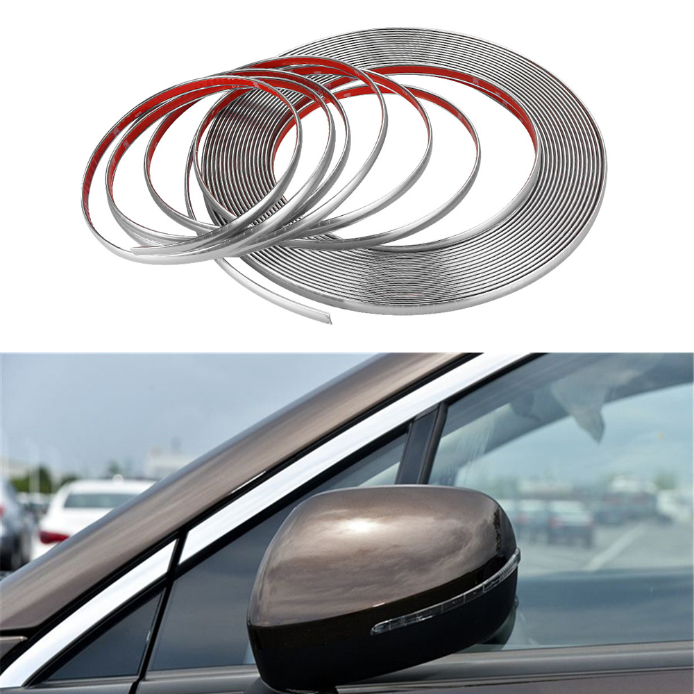 Car Chrome Body Strip Bumper Auto Door Protective Moulding Styling Trim Sticker 6MM 8MM 10MM 12MM 15MM 18MM 20MM 22MM 25MM 30MM(China)
