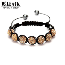 Fashion Shambhala Jewelry New Mix Colors Sales Promotion 10mm Crystal AB Clay Disco 9 Balls Shambala Bracelets(China)
