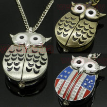 Owl Pocket Watch Wings Bronze Silver Star Flag Design Necklace Pendant Women Dress Small Size Stainless Steel Fashio