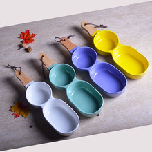 1pc Creative Ceramic Snack Plate with Bamboo Handle Two Divisions Salad Bowls Cake Pudding Cup Appetizer Dishes Tableware Supply