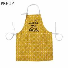 2017 Durable Cotton Kitchen Apron Printed Unisex Cooking Aprons Barbecue Restaurant Pocket Halterneck Sleeveless Apron