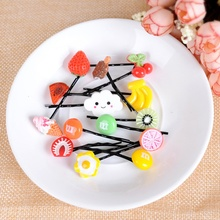 New Hot Sell 10Pcs Fruit Design Strawberry Kids Girl Hairpin Barrette Hair Clips Accessories Random(China)