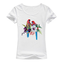 2017 Summer Fashion Flowers Bird T shirt Women Kawaii Printed T-shirts High Quality Elastic Cotton Tops Female Tees A73(China)