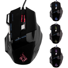 Hot Sale New 5500 DPI 7 Buttons LED USB Optical Wired Gaming Mouse Computer Mouse Mice For Pro Gamer Wholesale Drop Shipping(China)