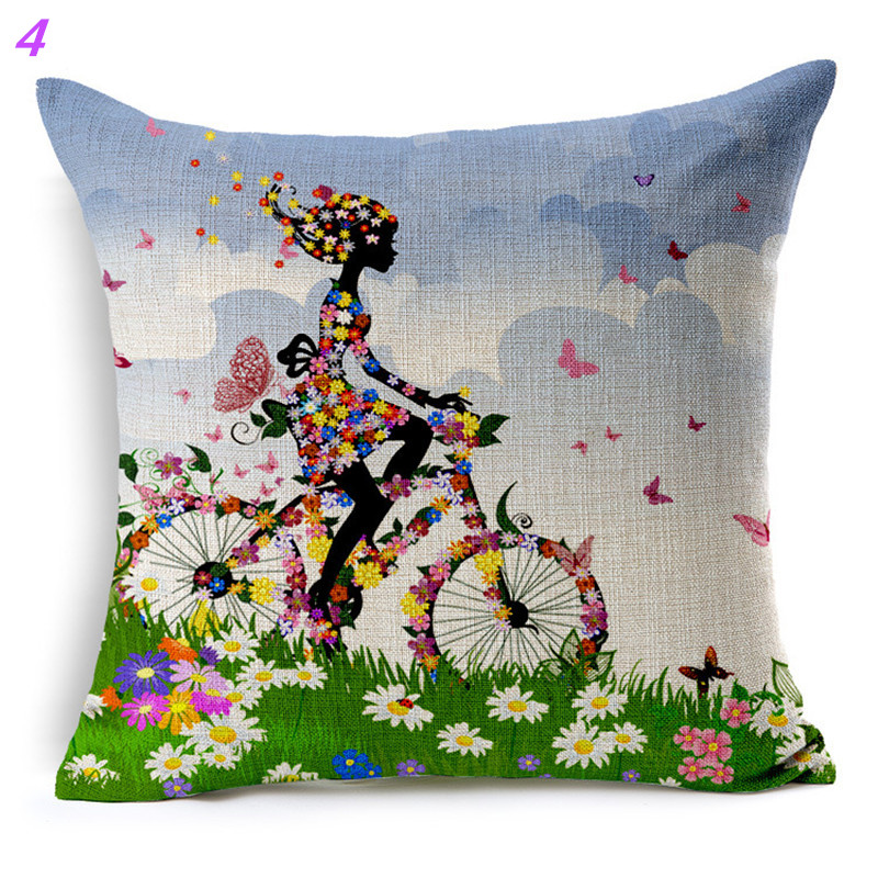 Maiyubo Ethnic Cushion Nordic Style Home African Bicycle Cushions Floral Women Linen Cushion Decorative Pillow Sofa PC329