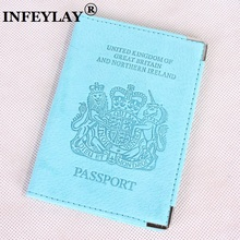 European and American passport holder passport cover Genuine leather passport to go abroad to personality UK embossing Card bag(China)