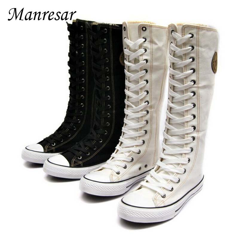 Manresar 2017 Classic 3 Colors Lace Women Canvas Boots Knee High Boots Casual Women Boots Flats Tall Punk Shoes Plus Size 35-43