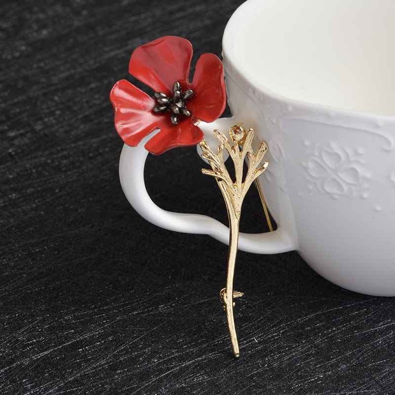 Black Gold Color Vintage Brooch Antique Red Poppy Flower Nrooch Pins Large Brooches for Women Men Suit Collar Accessories X424   (3)