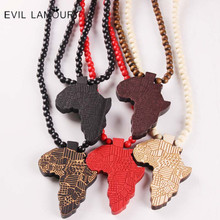Fashion Wood Made Stylish Africa Map Pendant Hip Hop Beads Long Chain Men Wooden Pendants Necklaces Jewelry Gift S1003