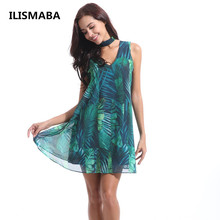 Buy ILISMABA 2018 Summer Lady Fashion Sexy Lady Dress High Quality Chiffon Print Malachite Green Women's Vintage Halter Clothing