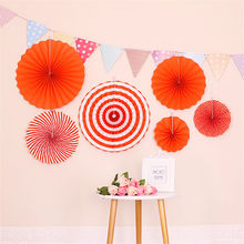 Kids Birthday Prop Round Foldable Paper Fan + Triangular Flag Banner Party Background Decoration can CSV(China)