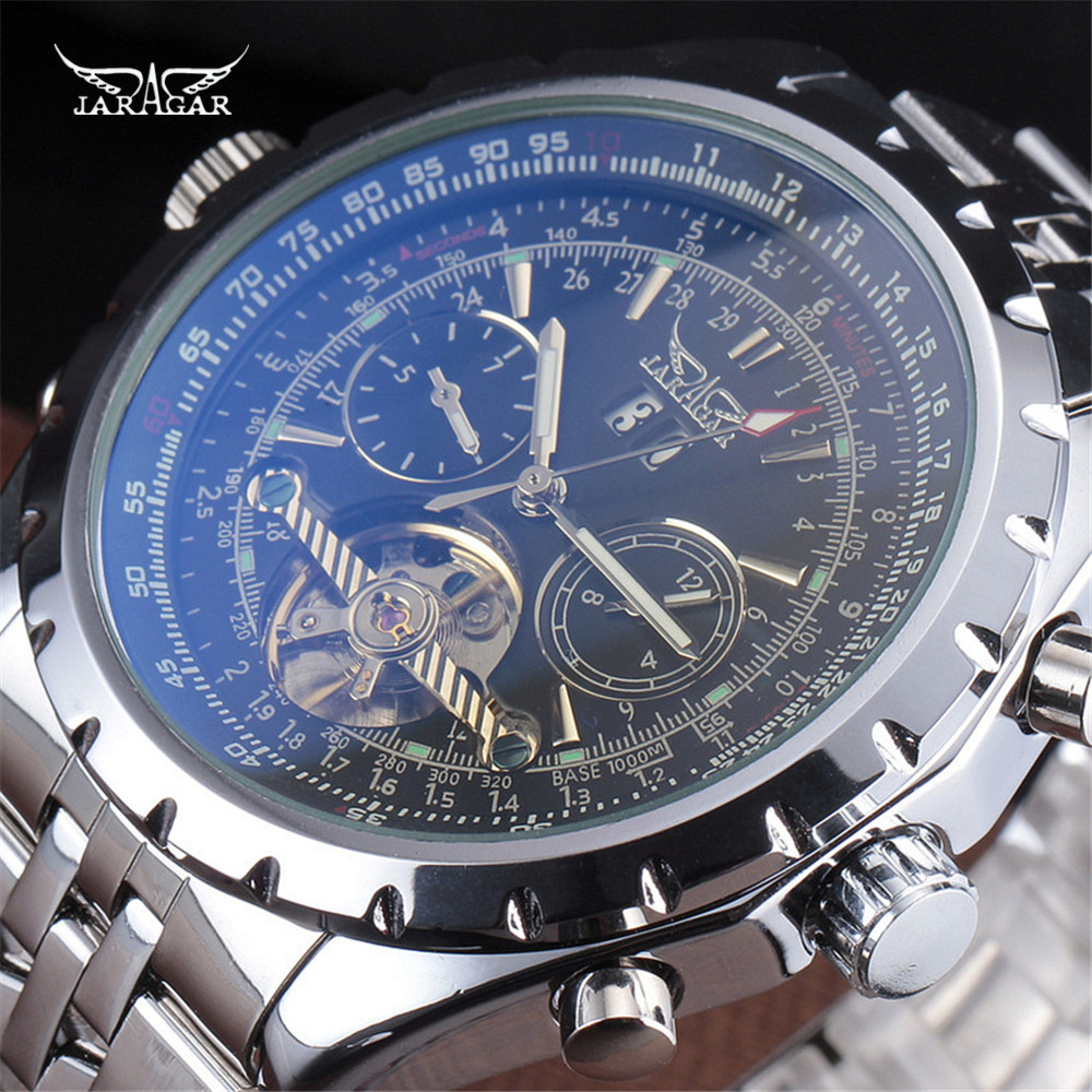 JARAGAR Fashion Big Dial High Quality Auto Date Stainless Steel Band Men Automatic Mechanical Tourbillon Watch relogio masculino<br>