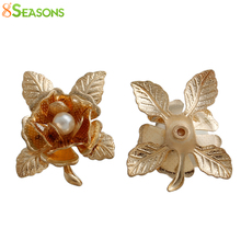 "8SEASONS Embellishments Findings Flower Leaves Gold color Acrylic White imitation pearl Bead 21mm(7/8"")x 18mm(6/8""),5 Pcs(China)"