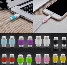 500pcs Data Cord Connector Protector Protective Sleeves Cable Winder Cover Candy Color Just for iphone cable Random Color