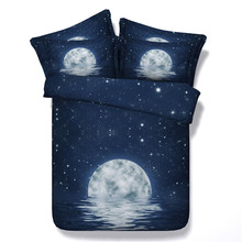 3D moon&red diamond 5pcs 100%cotton bedding set with comforter twin/full/queen/king/super king size free shipping via UPS