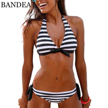 Buy BANDEA Halter Swimwear 2018 Sexy Women Bikini Set Push Bikini Stripe Biquini High Neck Bathing Suit Swimsuit Beach Wear Suits