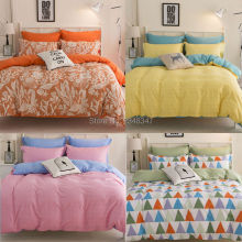 Fashion 4Pcs Twin/Full/Queen/King Size Bed Quilt/Duvet/Doona Cover Set & Sheet Nordic Style Geo Yellow Pink Checked Orange Flora