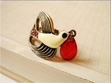 R207 HOT !Fashion Jewelry Vintage Super Cute Bird Red Crystal Rings Retro Metal Lovely Rhinestone Ring