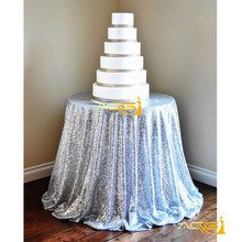 48'' Round Silver Sequin Tablecloth,wholesale Wedding Beautiful Sequin Table Cloth / Overlay /Cover