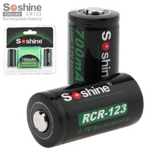 Soshine RCR 123 16340 700mAh 3.7V Li-ion Rechargeable Battery Lithium Batteries with Retail Package