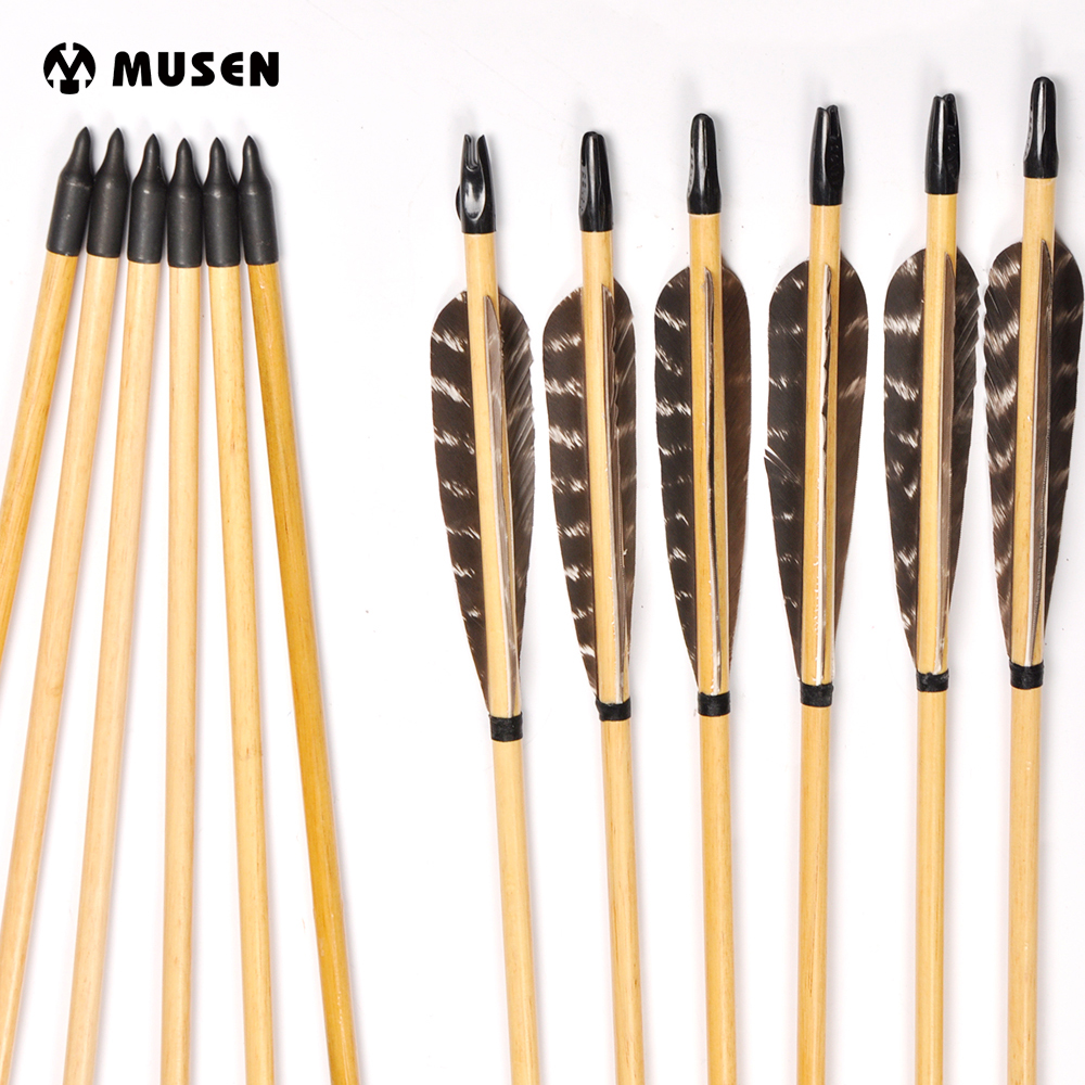"""33/"""" Archery Hunting Traditional Handmade Bamboo Arrows for Recurve Bow 10 Pack"""