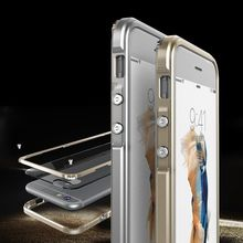 Luxury Aluminum alloy Metal Bumper Frame + PC transparent hard Clear Back Cover for Apple iPhone 6 S 6S Plus Luxury Casing