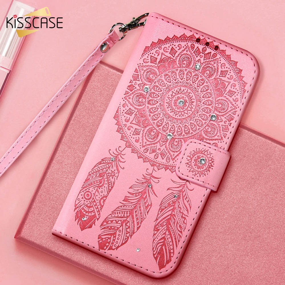 KISSCASE Case For iPhone X 8 7 6 6S Plus 5 5S Flip Leather Campanula Cover For Samsung Galaxy S8 Plus S6 S7 Edge Glitter Shells(China)