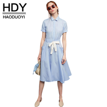 Buy HDY Haoduoyi 2017 Fashion Light Blue Dress Women Casual Pockets Short Sleeve A-line Vestidos Preppy Cute Straps Bow Summer Dress for $14.09 in AliExpress store