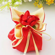 European style 50pcs/lot flower designed red gift bag for wedding candy box favor box free shipping