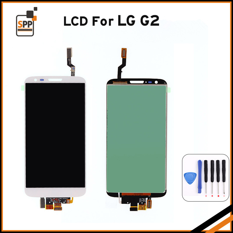 LCD screen for LG Optimus G2 F320 D800 D802 D805 LCD display touch digitizer glass complete assembly repair pantalla black white<br>