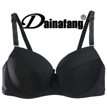 Dainafang Women Plus Size Black Bra 3/4 Cup Coverage No Padding Appliques Lace Cotton Bra For Women 40C,42C,44C,40D,42D,44D