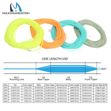 Maximumcatch 100FT 2/3/4/5/6/7/8/wt Weight Forward Floating Fly Fishing Line Moss Green/Orange/Teal/Yellow Color Fly Line(China)