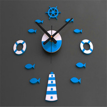 Vovotrade Mediterranean Style DIY 3D Wall Clock Home Wall Stickers Decoration Art Clock