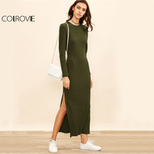 COLROVIE Sheath Autumn Dress 2017 High Slit Women Ribbed Bodycon Sexy Maxi Dress New Army Green Basic Long Sleeve Brief Dress(China)